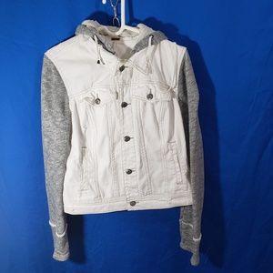 Free People Women's White/Gray Jean Jacket Sz L